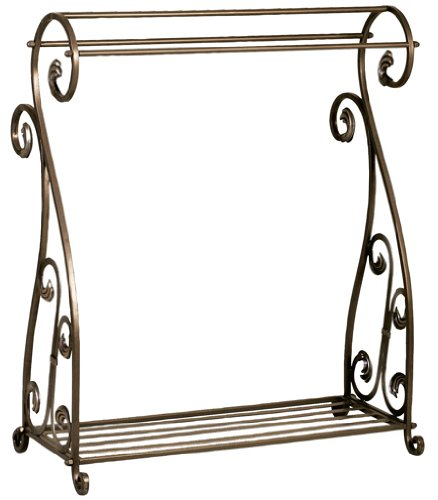 Aged Bronze Scrolled Metal Quilt Rack with Shelf (Quilt Metal Rack)