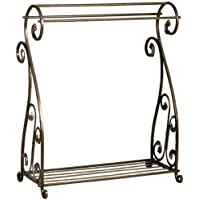 Aged Bronze Scrolled Metal Quilt Rack with Shelf