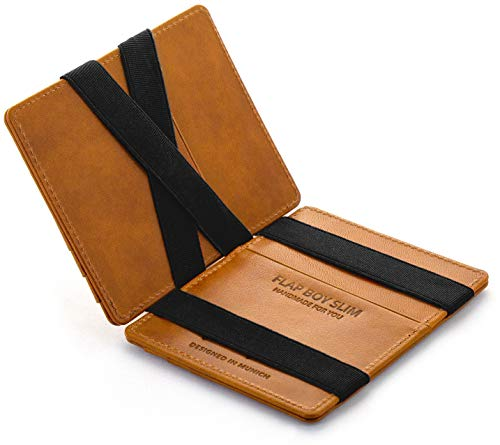 (Magic Wallet Flap Boy Slim Front Pocket Jaimie Jacobs RFID (Vintage Cognac with)
