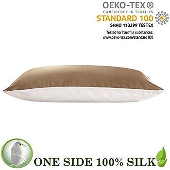 LILYSILK Silk Pillowcase with Cotton Underside 19 Momme Mulberry silk 100% Cotton Fabric Zipper Closure 1pc Taupe Standard 20x26