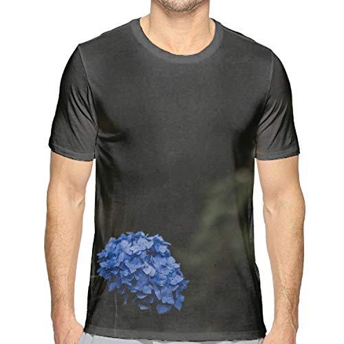 luxteen Mens Hydrangea Blue Inflorescence Leaves Blur Short Sleeve Workout Running Yoga Tshirts