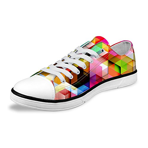 FOR U DESIGNS Stylish Unisex Stripe Wave Print Low Top Flat Shoes Lightweight Fashion Sneaker Lace-up Multi B2
