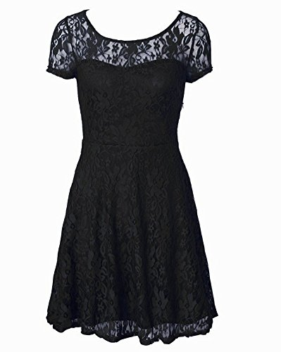 Blansdi Sleeve Pleated Short Fashion Round Black Lace Women Neck Dress Slim rwXqr6