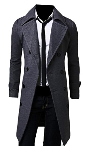 Blend Pea Coat Slim EKU Trench Coat Breasted Mens Lapel Double Wool Black Fit Ewqavp