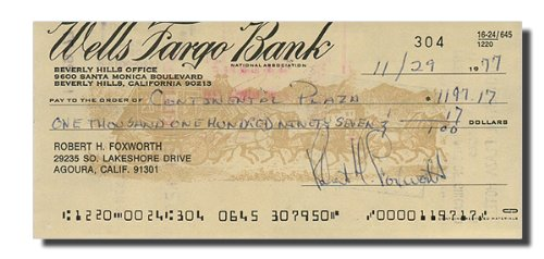 ROBERT FOXWORTH (Falcon Crest) - Signed Bank Note/Check