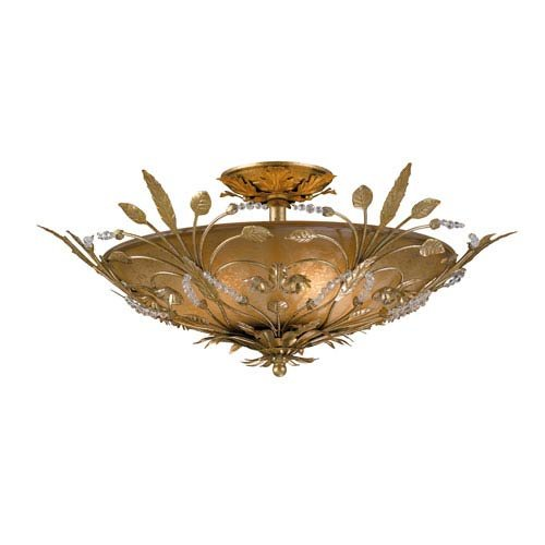 Crystorama 4704-GL Leaf, Flower, Fruit Six Light Ceiling Mounts from Primrose collection in Gold, Champ, Gld Leaffinish,