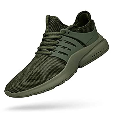 (7 D(M) US, Green) - QANSI Mens Sneakers Mesh Breathable Lightweight Sports Running Shoes Fashion Gym Summer