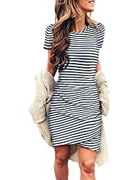 Women's 2019 Casual Crew Neck Ruched Stretchy Bodycon T Shirt Short Mini Dress