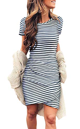 BTFBM Women's 2019 Casual Crew Neck Ruched Stretchy Bodycon T Shirt Short Mini Dress (104Stripe, Medium) (Best Style To Get Pregnant)