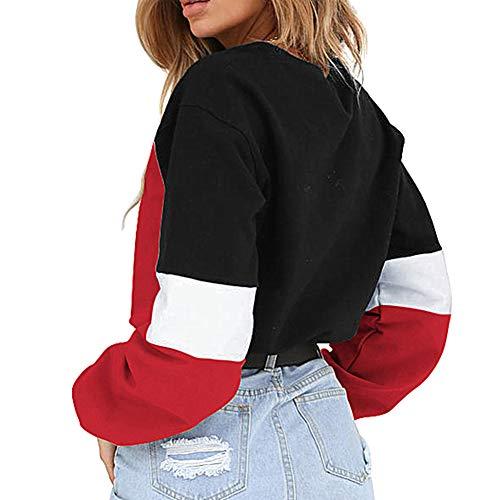 Casual Morbuy Tunics Shirt Tops Women's T Neck Sweatshirt Loose Red Blouse Round rrqO5fwax7