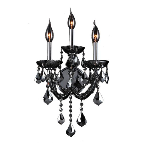Worldwide Lighting Lyre Collection 3 Light Chrome Finish and Smoke Crystal Candle Wall Sconce 12
