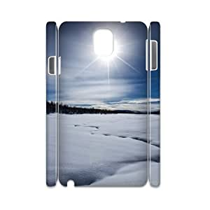 3D Samsung Galaxy Note 3 Cases Snow Trail, Samsung Galaxy Note 3 Cases Snow Pattern & Snow Texture, [White]