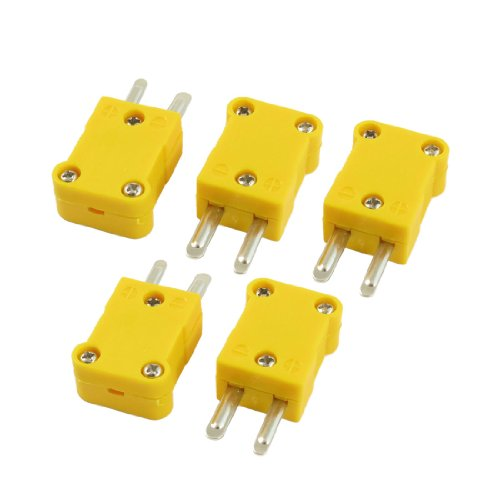 Podoy K Type Thermocouple Connector Adapter Yellow for Thermocouple Mini Plug Temperature Sensors 5 Pack