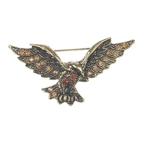 pricegems Vintage Antique Gold Finish Rhinestone Patriotic Liberty Eagle Flag Lapel Pin