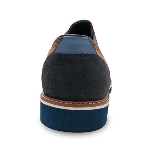 Zerimar Scarpe in Pelle da Uomo Scarpe Stringate Basse Scarpe da Uomo Colore Blu Taglia 46