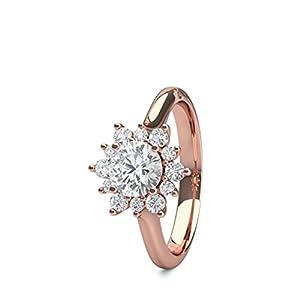 18K Rose Gold 4 Prong Setting Plain Halo Engagement Ring Size - 5
