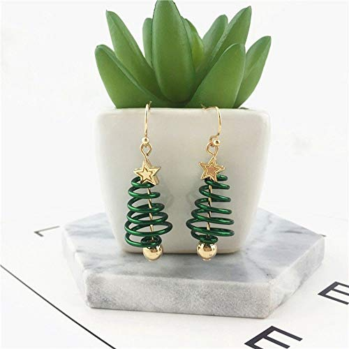 Jewelry Party Green Dangle Drop Christmas Tree Earrings Gold Plating Ear -
