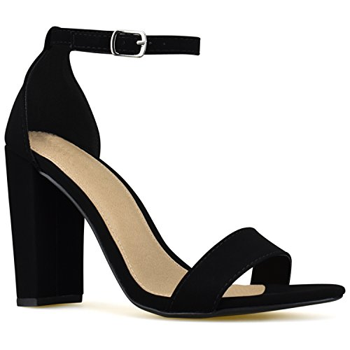 Premier Standard Women's Strappy Chunky Block High Heel - Formal, Wedding, Party Simple Classic Pump, TPS Heels-Acceb Black Size 7 Design High Heel