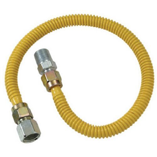 (BRASS CRAFT CSSD54-60 ProCoat Stainless Steel Straight Gas Connector with Fittings, 1/2