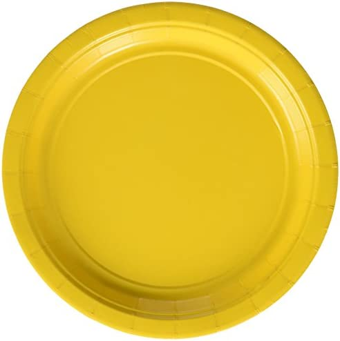 Amscan 丈夫な丸いデザート皿 大きなバンドルパーティーテーブルウェア用紙 7インチ 50枚パック 子供用イエローサンシャイン 7インチ