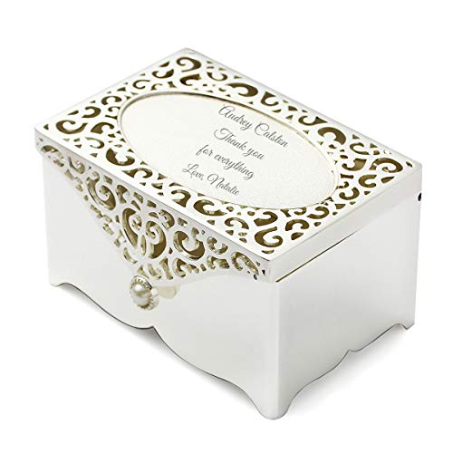 OnePlace Gifts Filigree Keepsake Box Personalized Jewelry Box, Engraved Silver-Plated Mother of Pearl Trinket Box