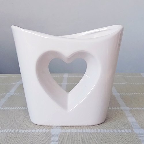 - Hollow out Heart Shaped Design White Indoor Ceramic Succulent Plant Pot Orchid Flower Planter Cactus Container Decorative Centerpiece Bowl