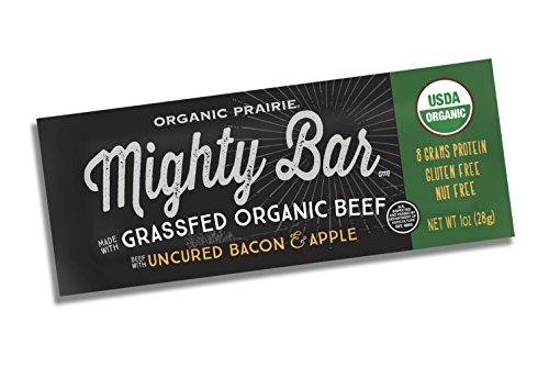 Mighty Organic, Mighty Bar, Organic 100% Grassfed Beef Bar, Uncured Bacon and Apple, 1oz bar