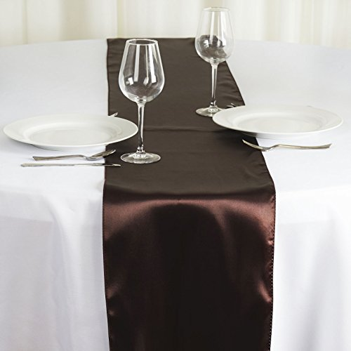 BalsaCircle 10 pcs 12 x 108 inch Chocolate Brown Satin Table Runners Wedding Table Top Party Supplies Reception Linens -