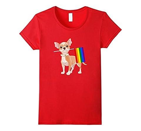 Womens Gay Pride Chihuahua Dog T-Shirt Gay Pride Flag Shirt Large Red - Gay Pride Dog T-shirt