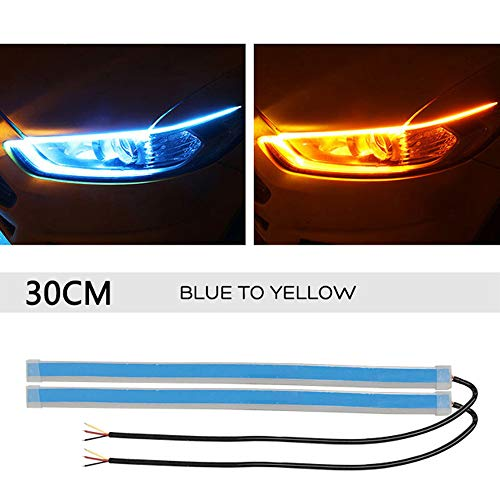JK'Cat 12V Auto Lamps for Cars DRL LED Daytime Running Light car Streamer Turn Signal Guide Strip Headlight Assembly Motorcycle Lights (Blue to Yellow, 30 cm (11.81 INCH)) (Auto Lamp Guide)