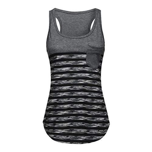 Beihxwe Athletics Scoop Neck Pocket Vest Tops Striped Workout Tank Active Wear (L, Gray)