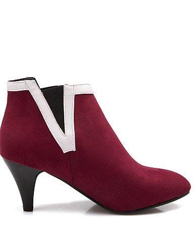 Cn39 Azul Puntiagudos Casual us8 negro La Botas Zapatos Eu39 Mujer us8 Tacón Botines Robusto Semicuero De Cn3 A Uk6 Vellón Red Blue Xzz Vestido Moda p1xnw7a7