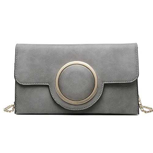 Sygoodbuy Bag Size Size Shoulder Elegant On Handbag Bag For Woman Gray Gray Leather color Shoulder Chain Woman One wqFrHRw