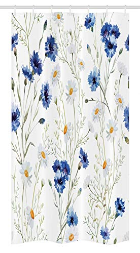 Ambesonne Watercolor Flower Stall Shower Curtain by, Wildflowers and Cornflowers Daisies Blooms Flower Buds, Fabric Bathroom Decor Set with Hooks, 36 W x 72 L Inches, Blue Sage Green Marigold ()
