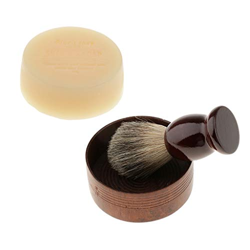 SM SunniMix Wooden Handle Shaving Brush Bowl Soap Set for Mens Face Hair Cleaning for Home Salon