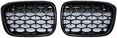 フォグライトグリル フィット感のためのBMW G01 G02バンパーダイヤモンド・レーシンググリルX3 X4 ABSオートスタイリングXDrive20i XDrive30i 2018+自動車部品 フォグライトフレーム (Color : All black)