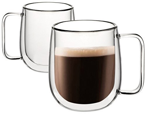 Huada Double Wall Insulated Borosilicate Glass Mugs Modern Espresso Cups, 10-Ounce, Set of 2