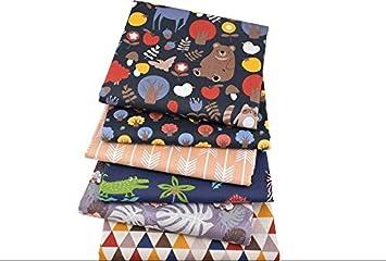 6 Telas ositos mix para cojines, costura, colchas, toallas, banderines, caravanas, guirnaldas, manualidades, patchwork, costura 40 x 50 cm de CHIPYHOME: ...