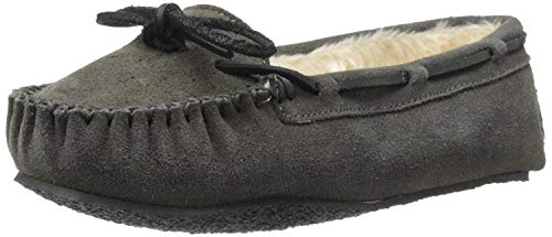 Minnetonka Women's Cally Faux Fur Slipper Grey Suede