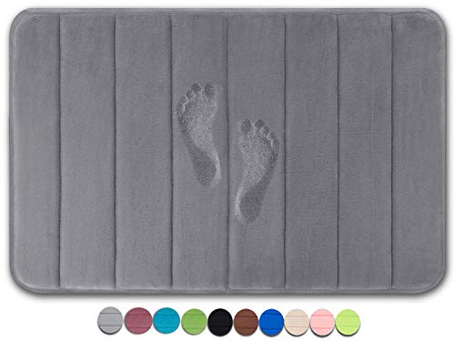 Yimobra Original Memory Foam Bath Mat Large Size 31.5 by 19.8 Inch,Maximum Absorbent,Soft,Comfortable,Non-Slip,Thick,Machine Wash,Easier to Dry for Bathroom Floor Rug,Grey (Presented 3 Pack Hooks)