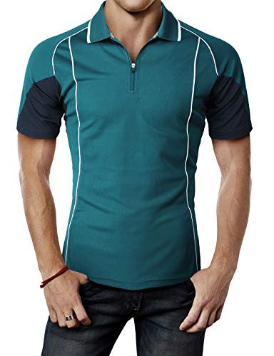 H2H Mens Active Slim Fit Cool Dry Cool-Pass Short Sleeve Polo T-Shirts of Various Styles
