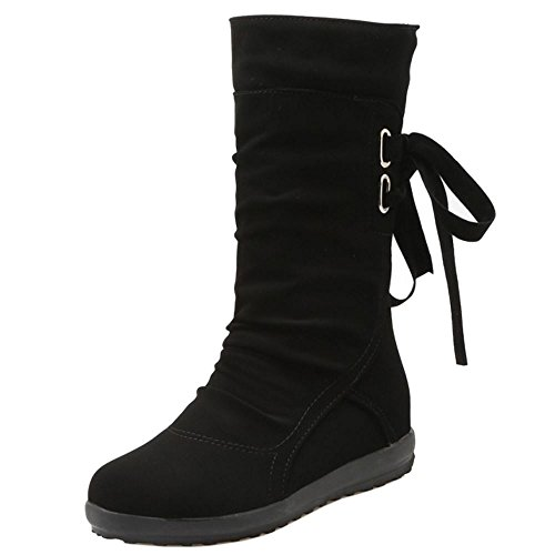 COOLCEPT Damen Western Pull On Slouch Stiefel Niedrige With Height Increasing Black