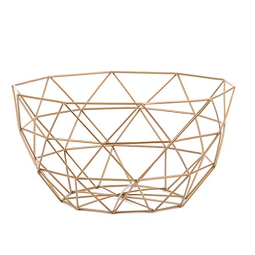 Gold Vegetable Bowl - YIFAN Fruit Bowl for Kitchen Counter, Metal Wire Fruit Basket Vegetable Organizer for Kitchen Table Large Capacity (Gold)
