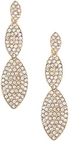 Trendy Fashion Jewelry Rhinestone Pave Triple Link Dangle Earring By Fashion Destination