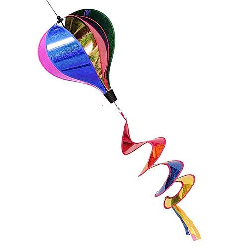 Colorful Rainbow/Grid Hot Air Balloon Stripe Windsock Wind Spinner Garden Yard Outdoor Decor ()