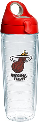 Tervis 1231058 NBA Miami Heat Primary Logo Tumbler with Emblem and Red with Gray Lid 24oz Water Bottle, Clear by Tervis