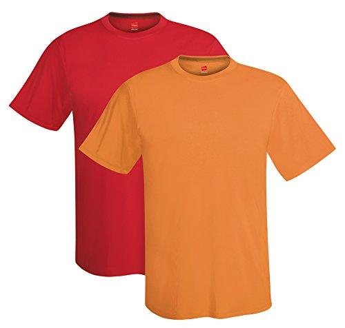 Hanes Men's Short Sleeve Cool DRI T-Shirt UPF 50+, RE/SH, Large (Pack of 2)