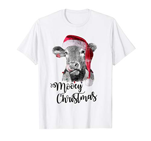 Christmas cow T shirt, santa hat, licking its nose
