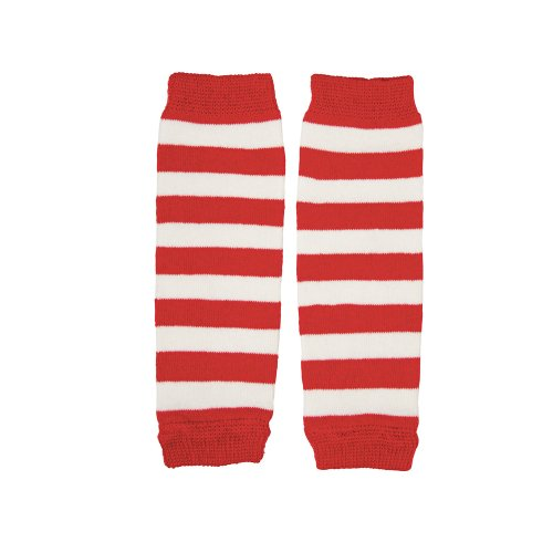 juDanzy Newborn Baby Leg Warmers (Newborn-15 Pounds)(Red & white stripe)