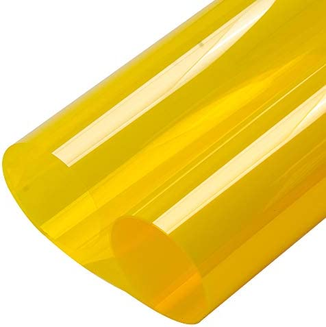 HOHOFILM 35.4 x16ft Colored Window Film Clear Decorative Glass Tint Sun Blocking Heat Control Self Adhesive Window Tint for Building Residential Yellow